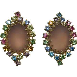 Frosted Pink and Pastel Rhinestone Earrings