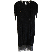 1980's Vintage Nite Line Silk Black Beaded Party Dress