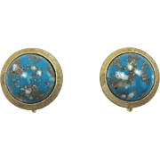 Trifari Faux Turquoise Matrix Cabochon Earrings