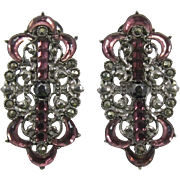1928 Jewelry Co. Long Silver-tone Earrings with Purple Rhinestones and Marcasites