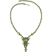D&E / Juliana Dangling Necklace - Peridot and Olivine Rhinestones  - Beautiful!