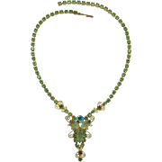 D&E / Juliana Dangling Necklace - Peridot and Olivine Rhinestones