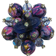 Bright Pink and Purple Beaded Brooch