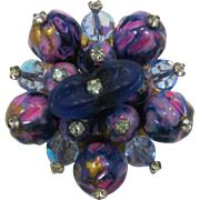Bright Pink and Purple Beaded Brooch - LAST CHANCE