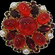 DeLizza & Elster - Juliana High-Domed Red Rhinestone Cabochon Brooch
