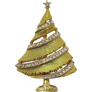 Weiss Light Iridescent Green Christmas Tree Brooch