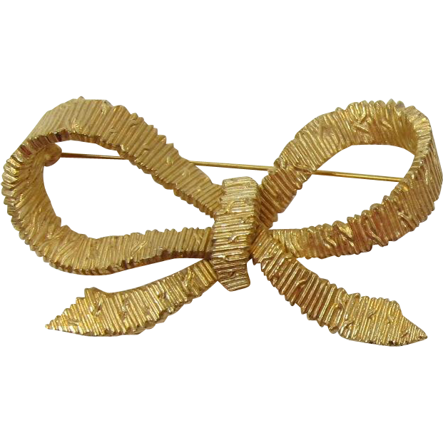 Ciner Bright Gold-tone Bow Brooch