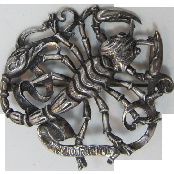 Gugliemo Cini Sterling Silver Scorpio Zodiac Pin