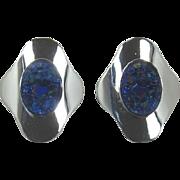 "Sarah Coventry ""Cleopatra"" Blue Iridescent Lava Rock Earrings"