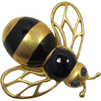 Carolee Gold-tone and Black Enameled Bee Pin