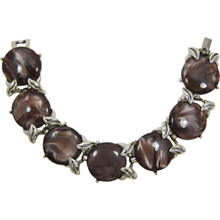 Fun H&S Swirled Brown and Tan Thermoplastic Link Bracelet