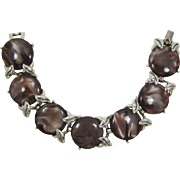 H&S Swirled Brown and Tan Thermoplastic Link Bracelet