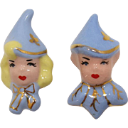 Charming Pixie Pins of Pink and Blue Ceramic