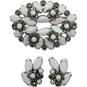 White Milk Glass and Black Diamond Florette Brooch and Earring Set