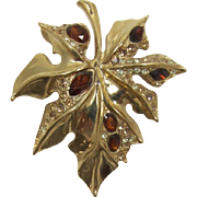 Large and Detailed Gold-tone Leaf with Smoky Topaz Rhinestones