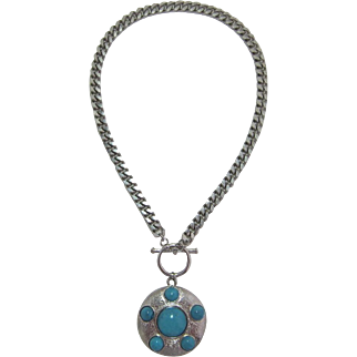Heavy Silver-tone Curb Chain with Imitation Turquoise Pendant