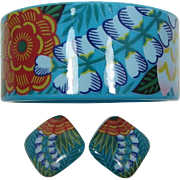 "Avon ""Tropical Beauty"" Aqua Flower Bangle and Earrings Set - Book Piece"
