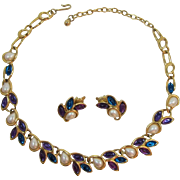 Trifari Teal, Purple and Imitation Pearl Link Necklace and Earrings Set