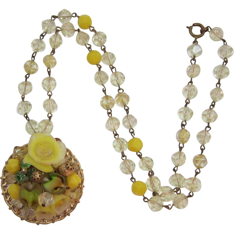 Bright Yellow Beaded Pendant Necklace with Peridot Green Rhinestones