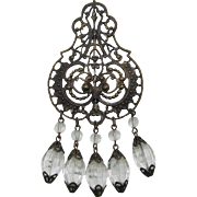 Bronze-tone Filigree Brooch with Dangling Clear Melon-shaped Beads