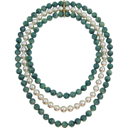 Fun Swirled Green-Blue and Imitation Pearl Three Strand Pop Bead Pop It Bead Necklace