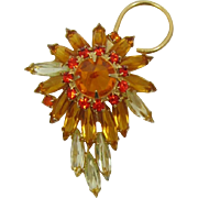 Spiky Topaz and Yellow Navette and Rivoli Rhinestone Brooch