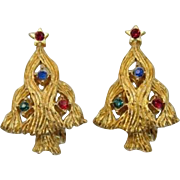 Textured Gold-tone Christmas Tree Earrings - Red, Green, Blue Rhinestones