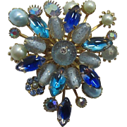 Spiky Blue and Aqua Brooch