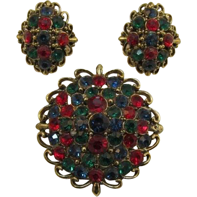 Hollycraft Jewel-tone Domed Brooch and Earring Set - Beautiful!