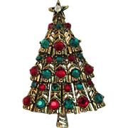 Fabulous Hollycraft Red and Green Rhinestone Christmas Tree Pin