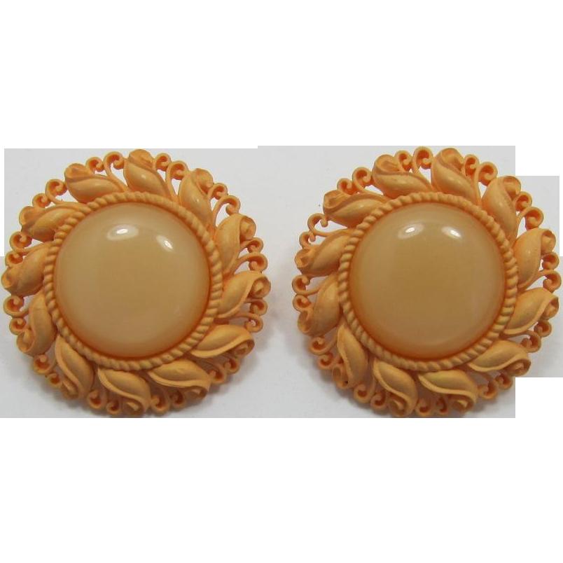 Large Orange Meringue and Shimmery Moonglow Earrings