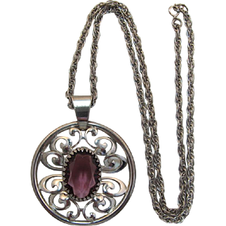 Large and Ornate Purple Stone Necklace