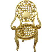 Cute Matte Gold-tone Victorian Chair Pin