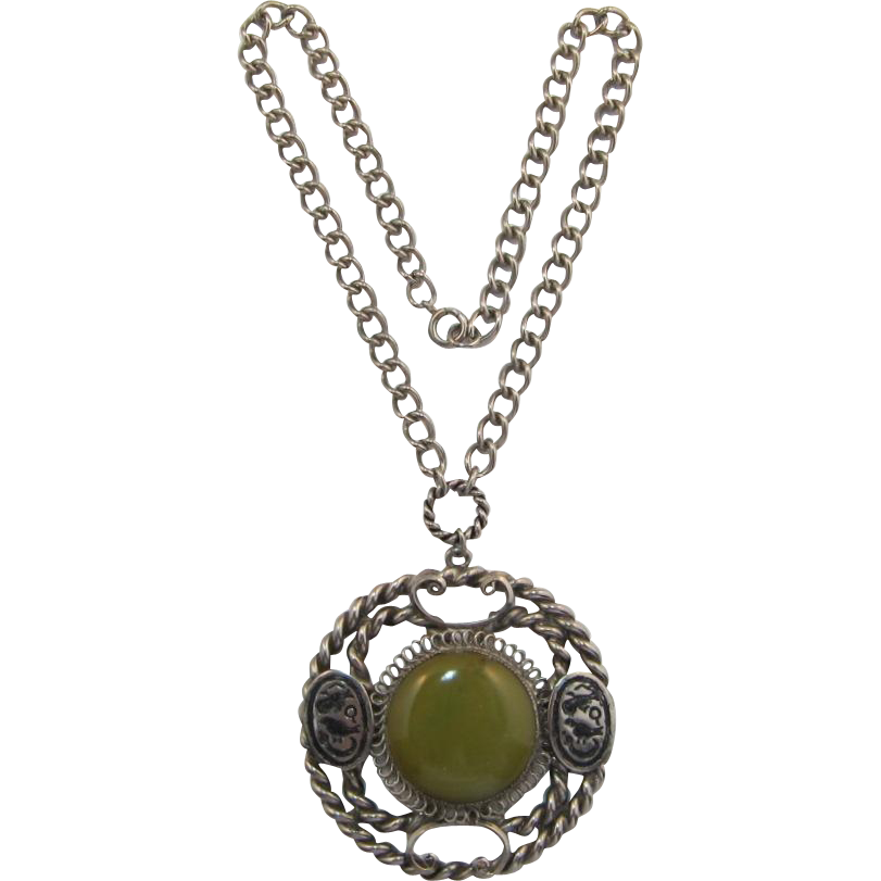 Egyptian Motif Necklace with Green Bakelite Medallion Disc