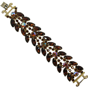Brilliant Smoky Topaz and Aurora Borealis Rhinestone Bracelet