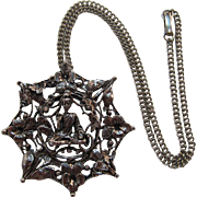 Detailed Asian Motif Pendant Necklace with Seated Buddha