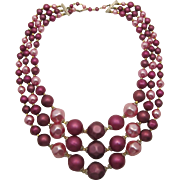 Big, Bobbly Three Strand Purple and Pink Necklace - Japan