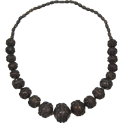 Large Bronze-tone Graduated Metal Bead Necklace