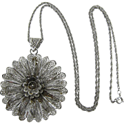 Beautiful Van Lou Sterling Filigree Flower Pendant Necklace