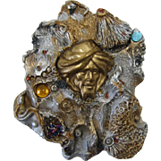 Wowza - Large Ali Baba Gold-tone and Silver-tone Brooch