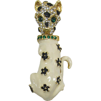Sitting Leopard Brooch with Enameled Flowers