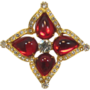 Robert Rose Bright Red Cabochon Rhinestone Brooch/Pendant