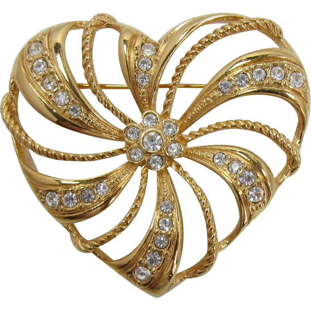 "Avon Large Open-work Gold-tone Heart Brooch ""Romantic Trellis Heart"""