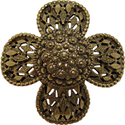 Original by Robert High-domed Gold-tone Flower Brooch/Pendant
