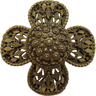 Original by Robert High-domed Gold-tone Flower Brooch/Pendant