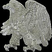 Large Sparkling Silver-tone Bald Eagle Brooch - Symbol of the U.S.