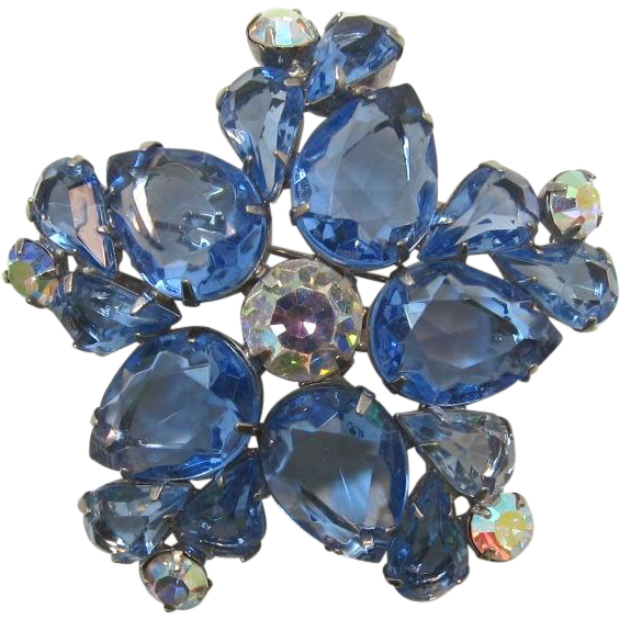 D&E Juliana Large Unfoiled Pear-Shaped Blue Rhinestone Brooch
