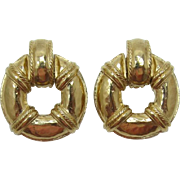 Givenchy Paris New York Bright Gold-tone Doorknocker Earrings