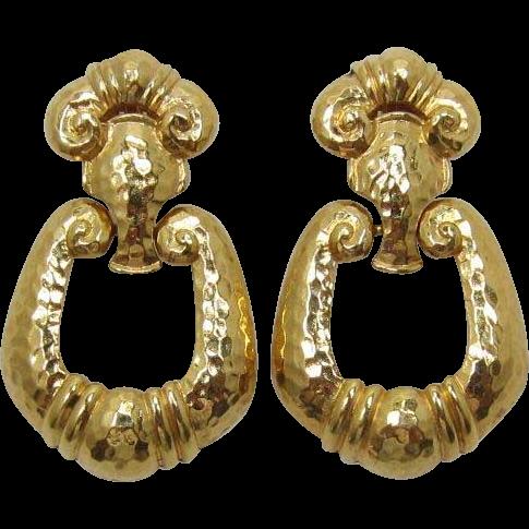 Dramatic Jose and Maria Barrera for Avon Corinthian Doorknocker Earrings