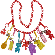 1980's Colorful Plastic Charms Necklace - 9 Charms